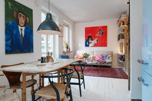 white decorating and colorful accents in Scandinavian homes
