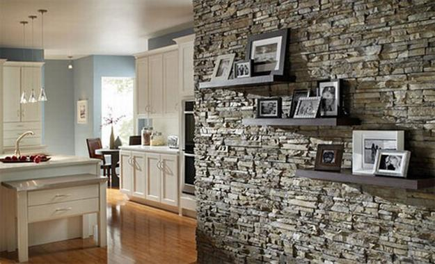 Stone Tiles And Decorative Shelves With Pictures For Wall Decorating
