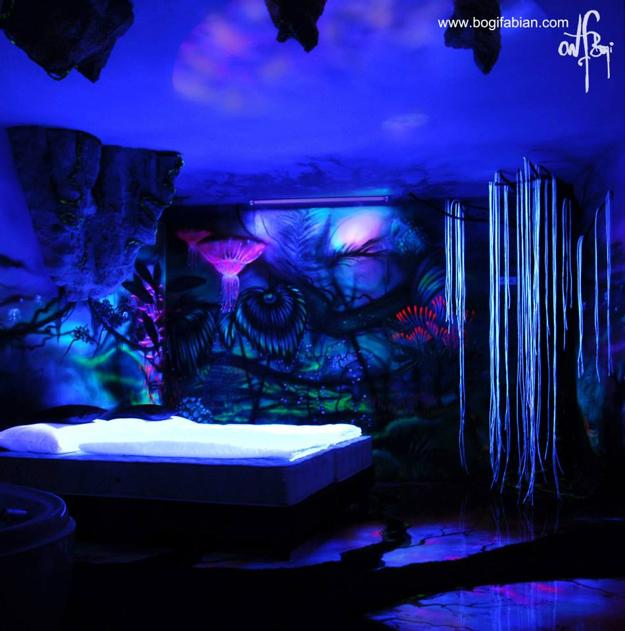 wall decorating with glowing paints
