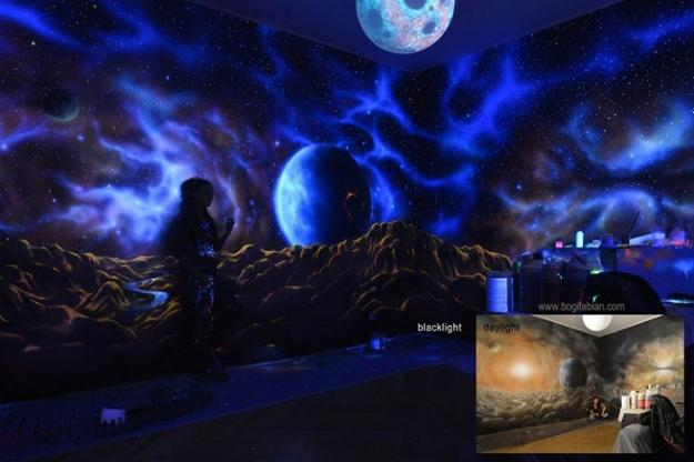 Glowing Wall Painting Ideas Bringing Futuristic Space Themes Into Rooms