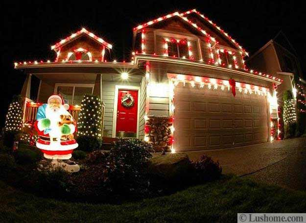 33 dazzling ideas for winter decorating with christmas lights for Christmas lights for house exterior