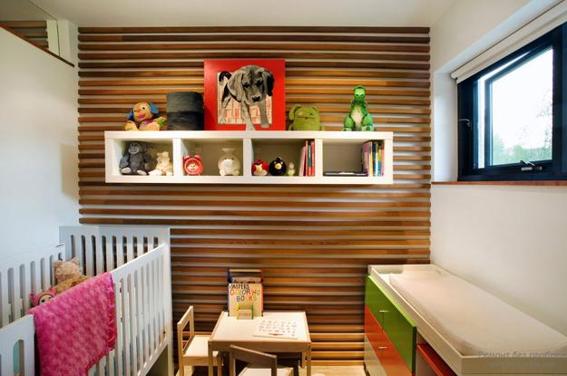 Wooden Wall Design Baby Room Decorating