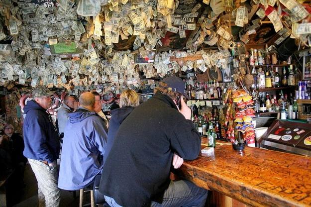 Vintage Interior Decorating With Dollar Bills Old Bar In