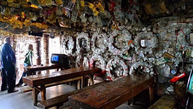 Vintage Interior Decorating With Dollar Bills Old Bar In
