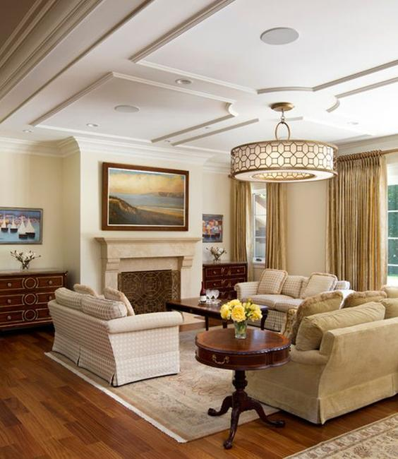 Vintage And Modern Ceiling Designs Classic Living Room