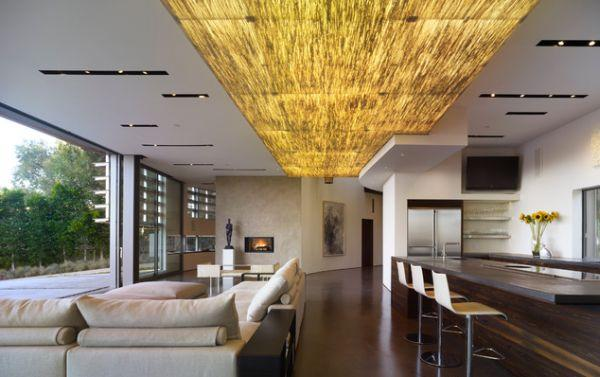 Contemporary Ceiling Design With Lighting Modern Living Room And Kitchen Interior