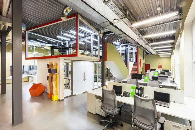 Contemporary Office Design, Glass Walls, Bright Yellow, Orange, Green And  Red Interior Colors