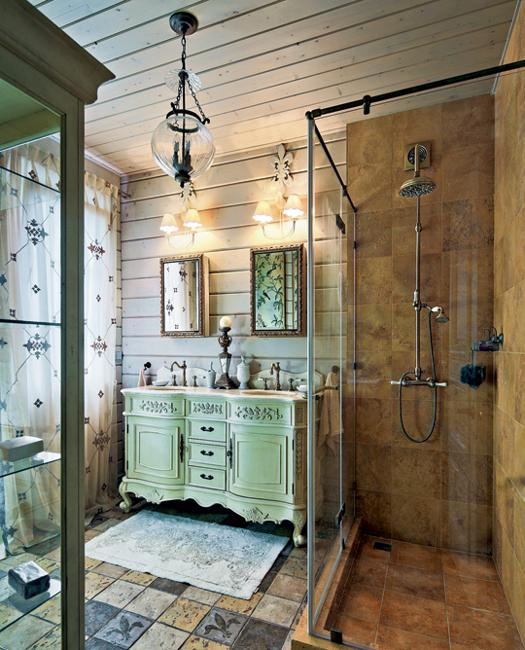 Modern Glass Shower Design And Vintage Furniture For Bathroom Decorating