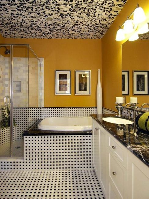 dark paint colors, dark wallpaper and wood for modern ceiling designs