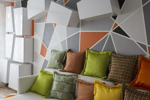 modern living room design and decorating with geometric shapes