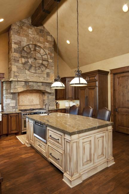Beautiful Kitchen Design With Stone Stove And Hood Wooden Island Painted White Leather Chairs