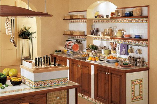 Colorful Wall Tile Designs And Kitchen Hood In Mediterranean Style