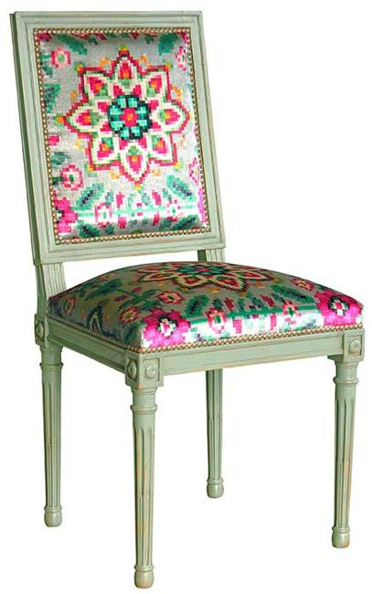 vintage furniture, hand painting ideas and upholstery fabrics in bright colors