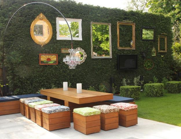 Outdoor Seating Area With Wooden Furniture In Contemporary Style Oriental Garden Design