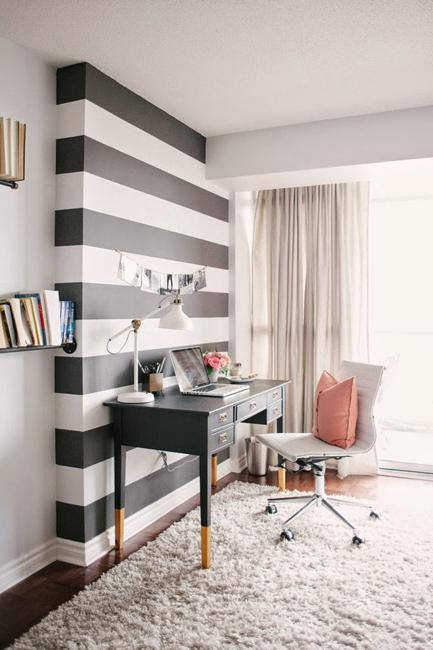 Black And White Stripes On Wall, Black And White Office Furniture
