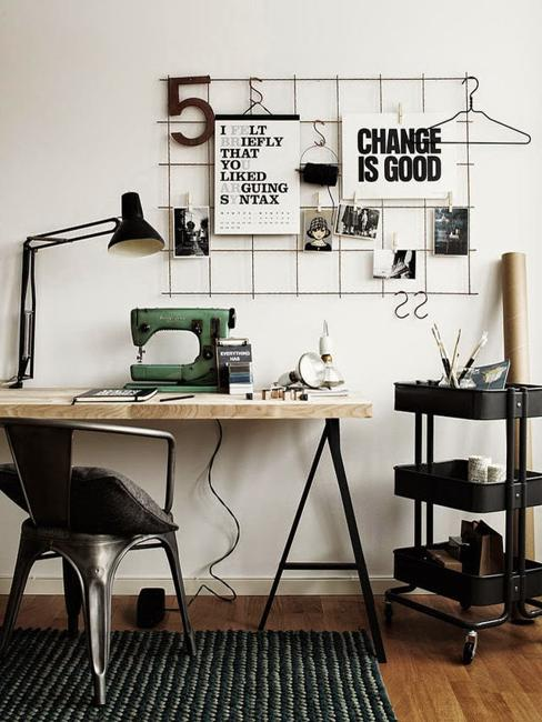 Craft Room Home Office Design Black And White Decorating Ideas For ...