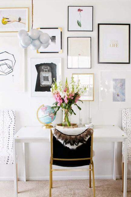 Black And White Decorating Ideas For Small Home Office Designs Craft Rooms
