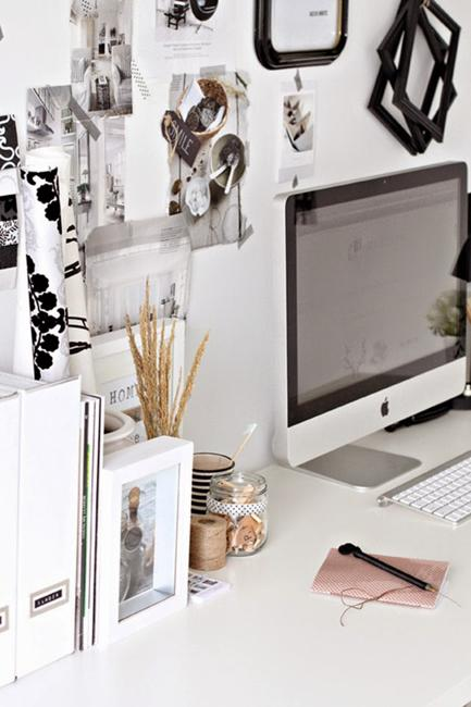 Black And White Decorating Ideas For Small Home Office Designs And Craft  Rooms