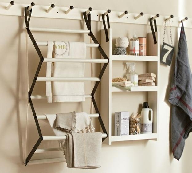 Space Saving Racks Adding Eco Accents To Laundry Room Design