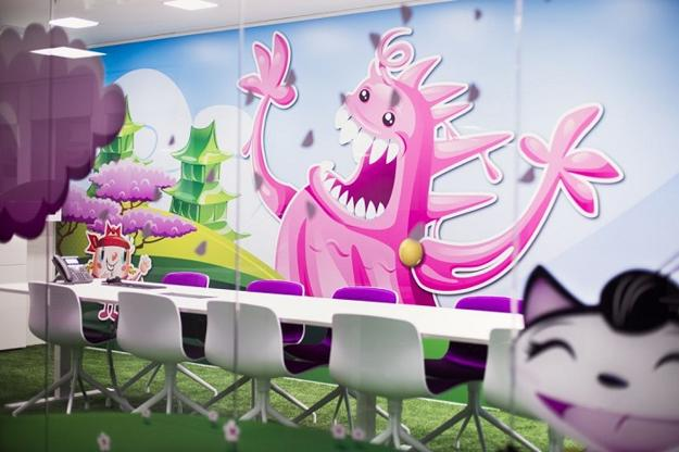 bright interior colors and unique wall murals for modern office designs