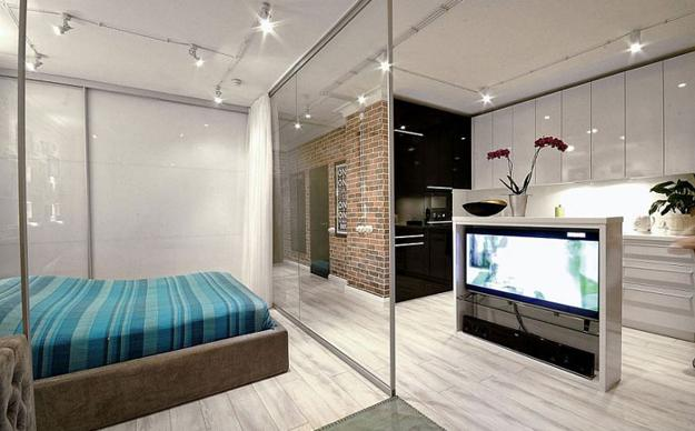 Bedroom Design With Glass Partition Wall