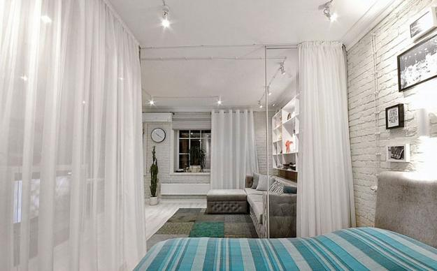 Small Bedroom Design With Glass Partition Walls And Curtains