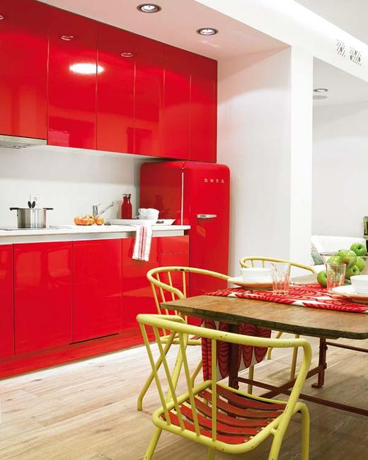 Contemporary Kitchen Design In White And Red Colors
