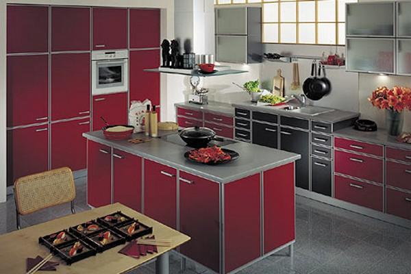 Red Kitchen Countertops, White Decorating Ideas And White Kitchen Cabinets