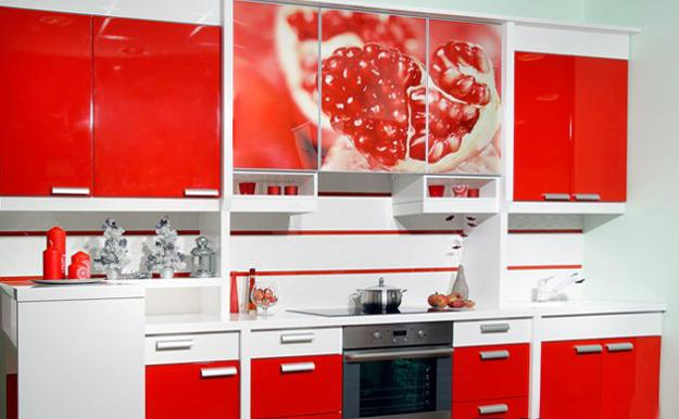 Beautiful Kitchen Cabinets In White And Red Colors