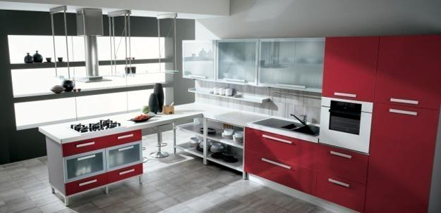 Rich Red Color And White Kitchen Cabinets Contemporary Design