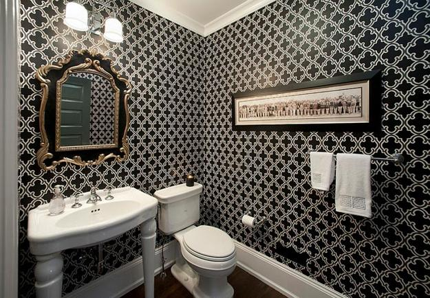 Black And White Wallpaper For Modern Bathroom And Powder Room Decorating