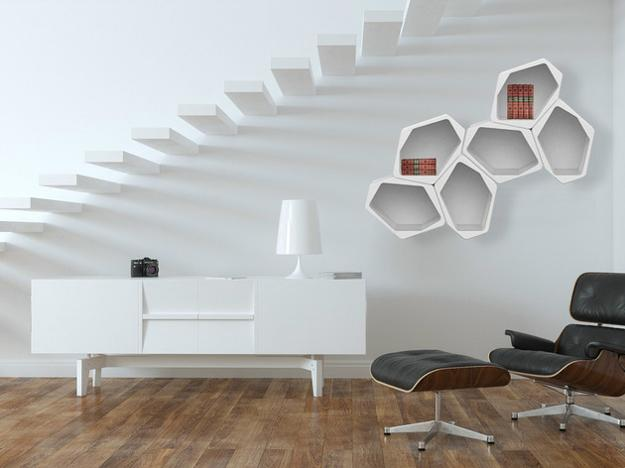 bookcases, shelves, room dividers and side tables created with geometric modular shelving units