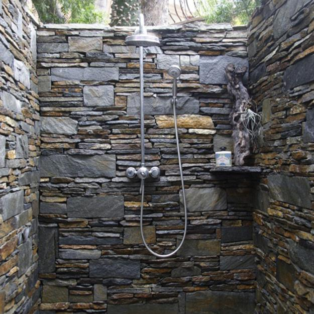 Built-in ground outdoor shower designs. Stone shower design, beautiful  backyard ideas