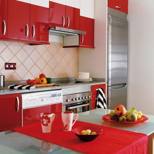 red kitchen cabinets for contemporary small spaces