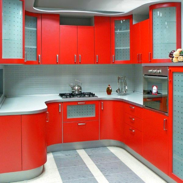 Kitchen Design Red And White: Red Color Can Revolutionize Small Kitchen Design