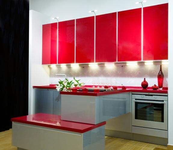 Red color can revolutionize small kitchen design - Black red and white kitchen designs ...