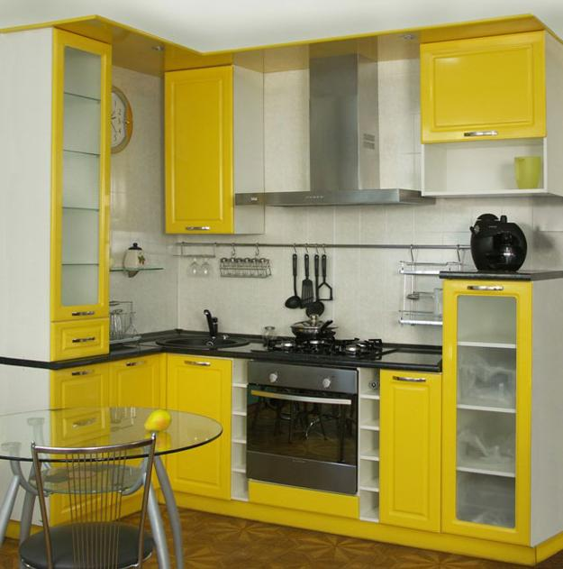Space Saving Kitchen Furniture For Small Spaces, White And Yellow Kitchen  Cabinets