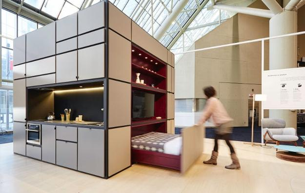 compact home in one cube for small spaces. Black Bedroom Furniture Sets. Home Design Ideas
