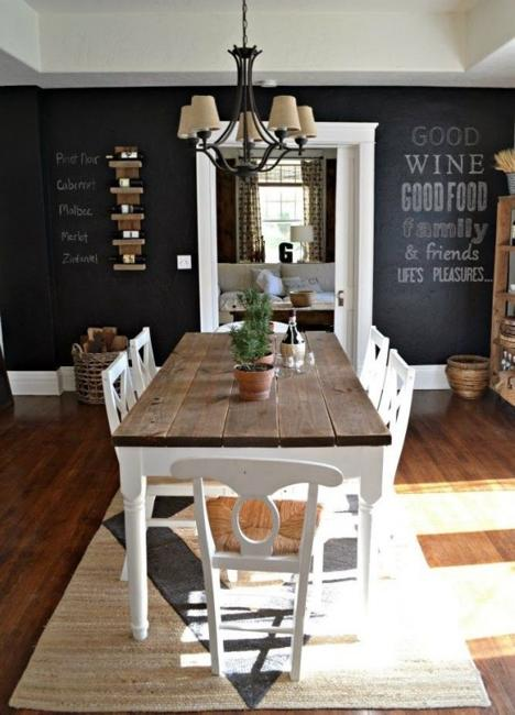 Wooden Furniture, Black Wall Painting Idea For Modern Dining Room Design