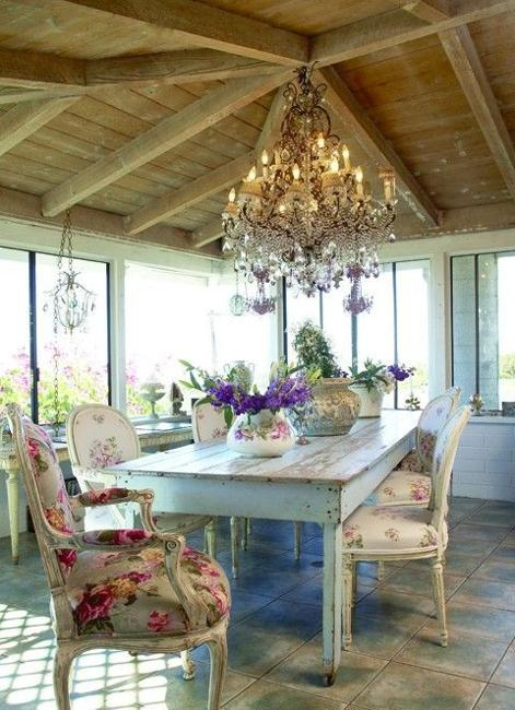 Wooden Furniture Dining Table Chairs And Large Chandelier In Vintage Style
