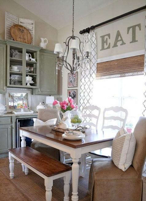 Vintage Furniture, Decor Accessories And Chandelier, Modern Dining Room  Decorating In Vintage Style