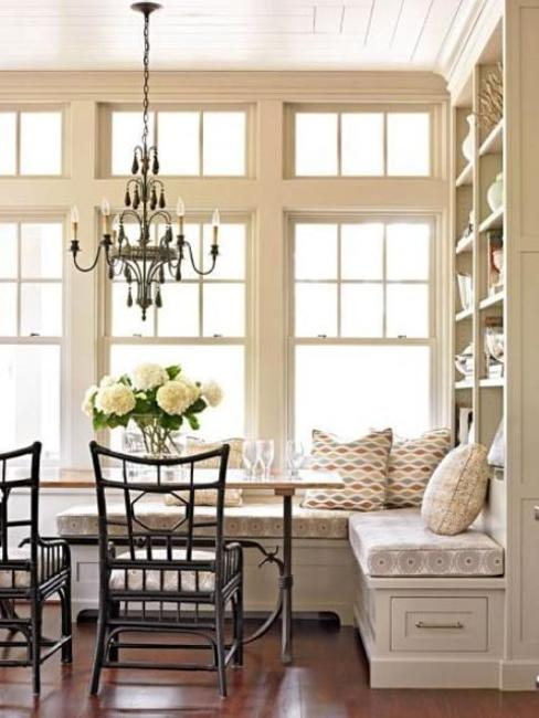 Large Kitchen Nook With Built In Window Seat And Storage