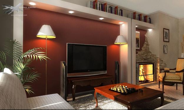 Living Room Design With Colorful Accent Wall