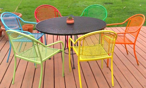 Colorful patio furniture, iron furniture set of black table and bright  chairs - Iron Furniture Adding Modern Elegance To Outdoor Home Decorating