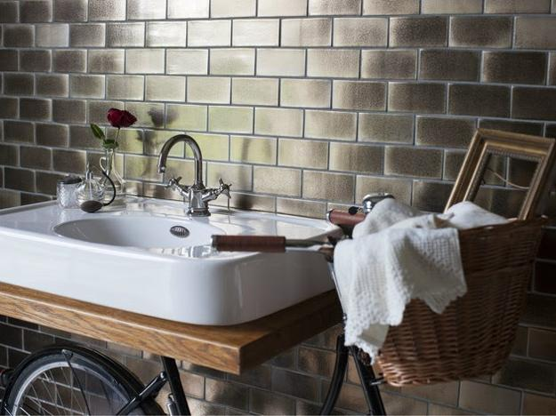 Beautiful Bathroom Sink With Bike Towel Rack
