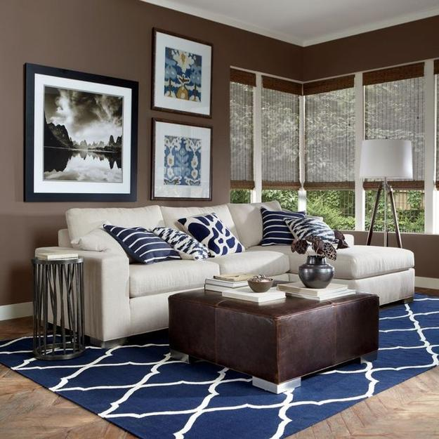 Black And White Decorating Ideas Combined With Brown Blue Color Scheme For Modern Living Room