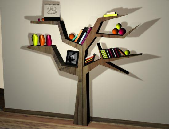 Tree Book Shelving Wooden Shelves Inspired By Trees Wall Decoration