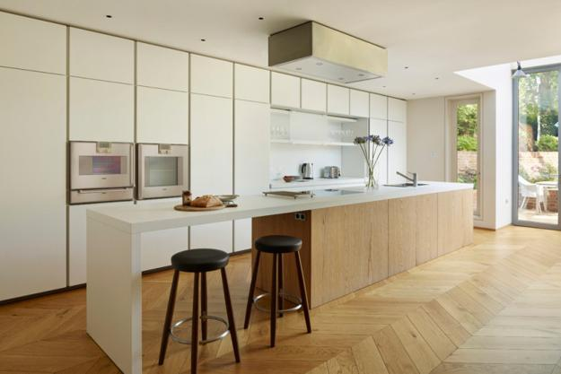Wood Kitchen Cabinets With Built In Appliances, Portable Cabinets And  Contemporary Kitchen Island Design