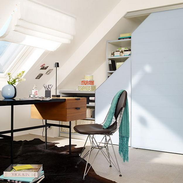 Contemporary Storage Organization For Small Spaces Under Sloped Ceiling And Stairs