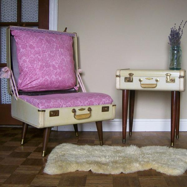 Handmade Chair With Floral Cushions In Pink Color, Diy Idea To Reuse And  Recycle Vintage Suitcase